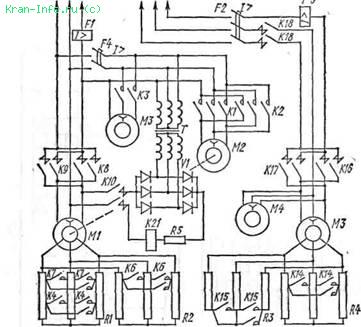 Принципиальная электрическая схема силовой цепи электропривода механизма подъема груза крана КБ-573.